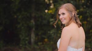 bride looking back over shoulder